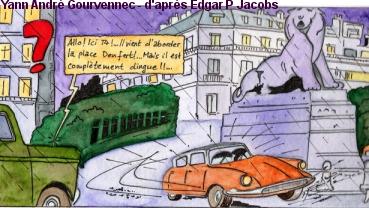 la place Denfert Rochereau - d'après Blake & Mortimer